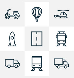 transportation icons line style set with lorry vector image