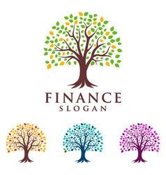 Tree finance logo eco green logo vector