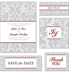 Vector grey victorian pattern with red accented fr vector