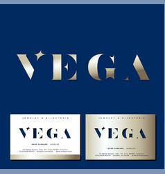 Vega logo gold star jewelry emblem business card vector