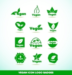 Vegan text logo icon badges set vector image