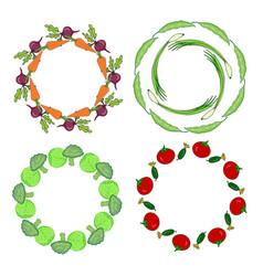 Vegetables hand drawn frames set label for sale vector