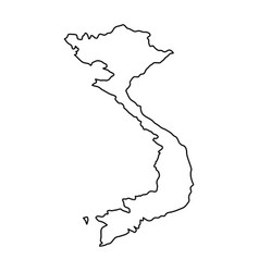 Vietnam map of black contour curves on white vector