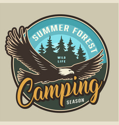 vintage summer camping colorful round label vector image