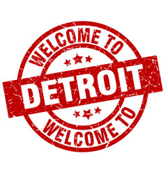 Welcome to detroit red stamp vector