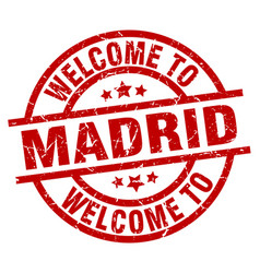 Welcome to madrid red stamp vector
