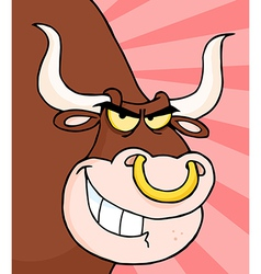 Angry Longhorn Head vector image vector image