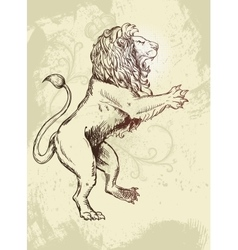 Figure lion Doodle style grunzhe and plant vector image vector image