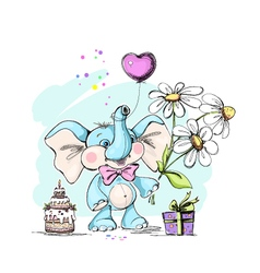 Cute and funny baby elephant with gifts vector image