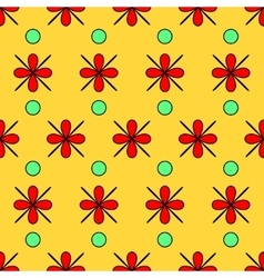 Flower red and circle seamless pattern vector image vector image