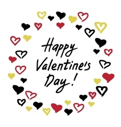 Valentine card with hearts frame vector image
