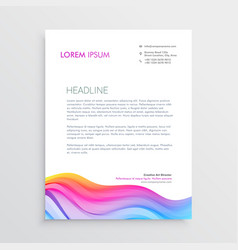 colorful wave effect letterhead design vector image vector image