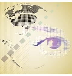 Digital composite of halftone human eye and vector image