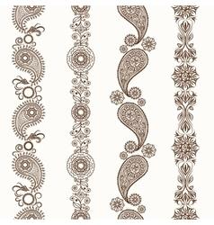 Henna mehndi ornamental borders vector image