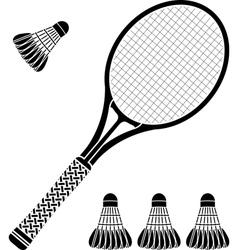 stencil of racket and badminton shuttlecocks vector image vector image