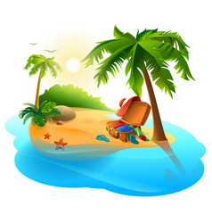 summer vacation on tropical island open suitcase vector image vector image