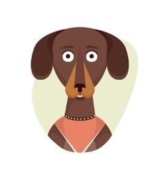 Cartoon cute dachshund dog isolated objects on vector