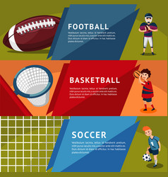 colorful team sports horizontal banners vector image vector image