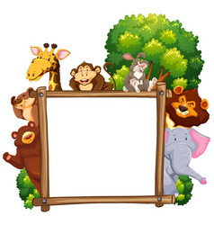 wooden frame with many animals in background vector image
