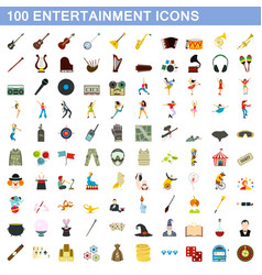 100 entertainment icons set flat style vector image