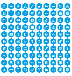 100 family camping icons set blue vector