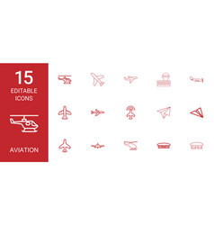 15 aviation icons vector image