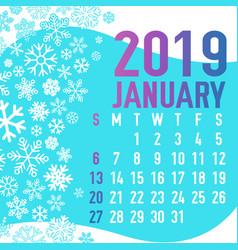 2019 winter months calendar template vector