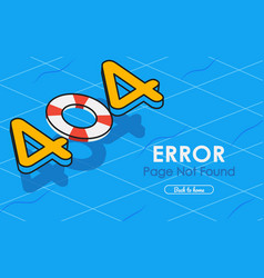 404 error page not found in swimming pool graphic vector image