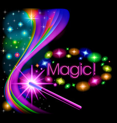 A magic background with a glow and a magic wand vector