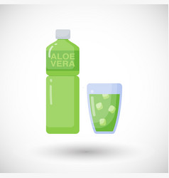 Aloe vera drink flat icon vector