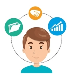 Avatar man and business icons vector
