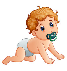 baby boy sucking on pacifier vector image