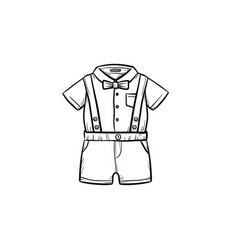 baby shirt and shorts hand drawn outline doodle vector image