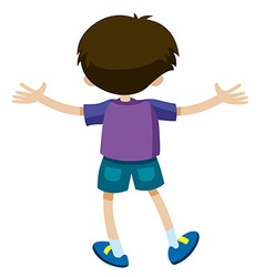 Back of boy in purple shirt vector