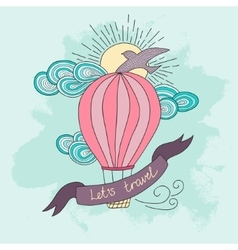 Background with hot air balloon and motivational vector image