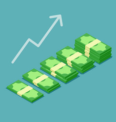 banknotes stack growth successful vector image