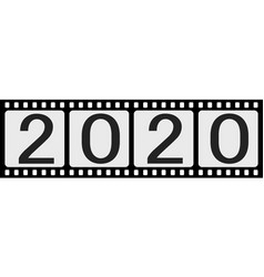 banner 2020 happy new year retro style photo film vector image