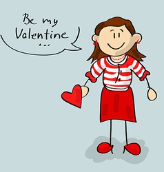 Be my Valentine woman cartoon vector image