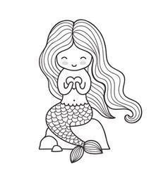 beautiful mermaid with long hair sitting ona a vector image