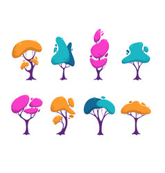 beautiful stylized colorful trees set vector image