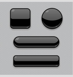 Black buttons 3d web icons on gray background vector