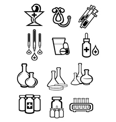 Black outline sketch icons of medicine or drugs vector image