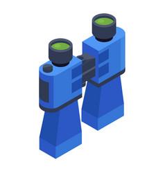 blue binoculars isometric icon vector image