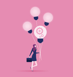 businesswomen walking with four flying light bulbs vector image