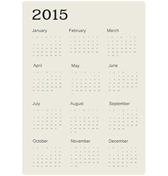 calendar 2015 simple vector image