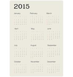 calendar 2015 simple vector image