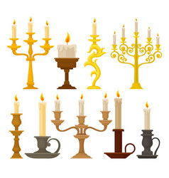 Candles in candlesticks set vintage candle vector