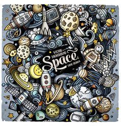 Cartoon doodles space vector