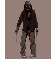 cartoon terrible bloody zombie vector image