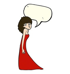 Cartoon woman pulling photo face with speech vector